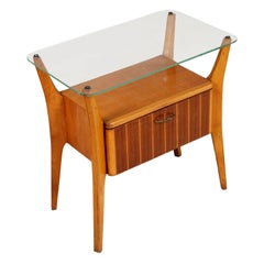 1940s Cantù Nightstand Table Gio Ponti attributable in Walnut, Maple Crystal Top