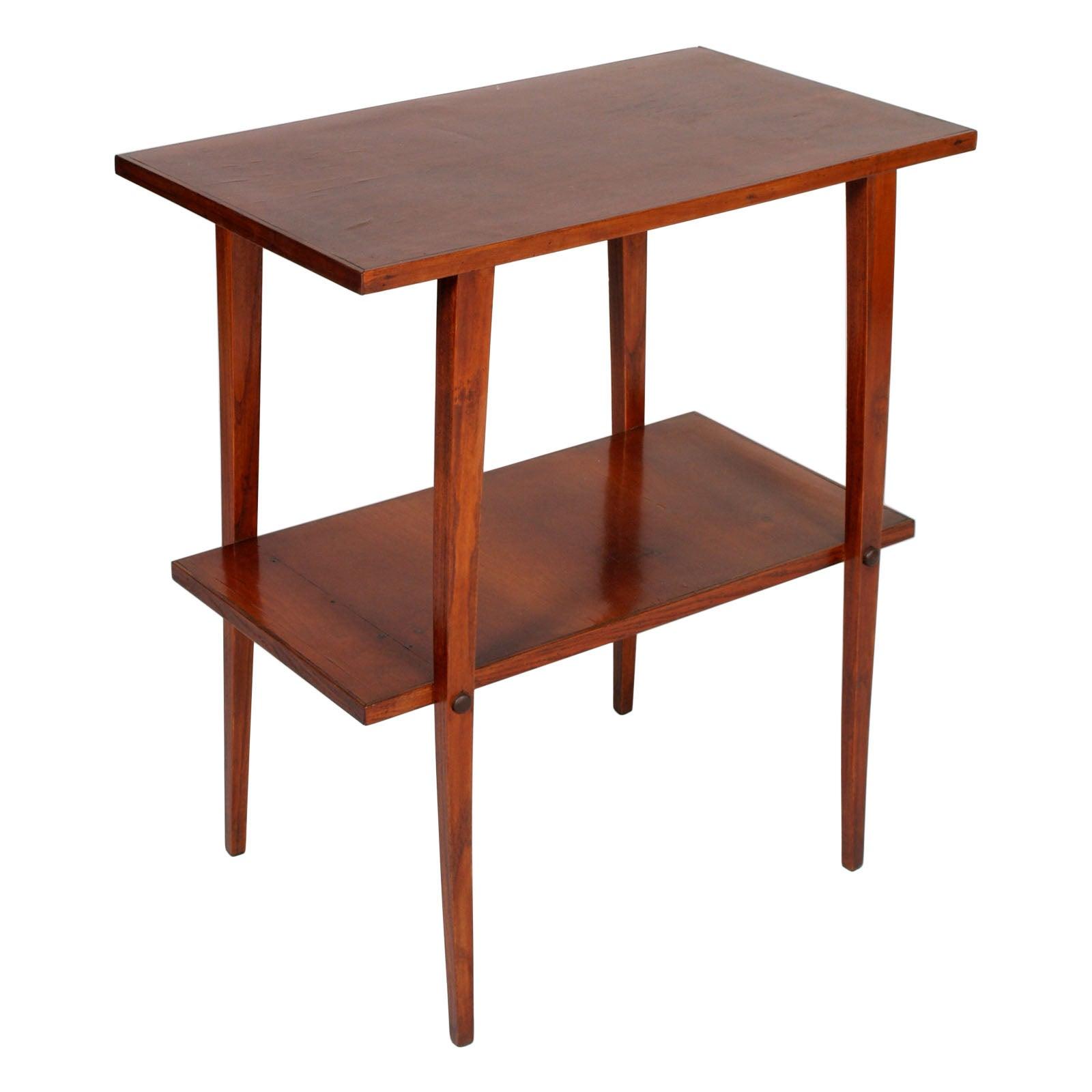 Art Deco Walnut occasional Table with Top in Walnut Slab restored & Wax Polished