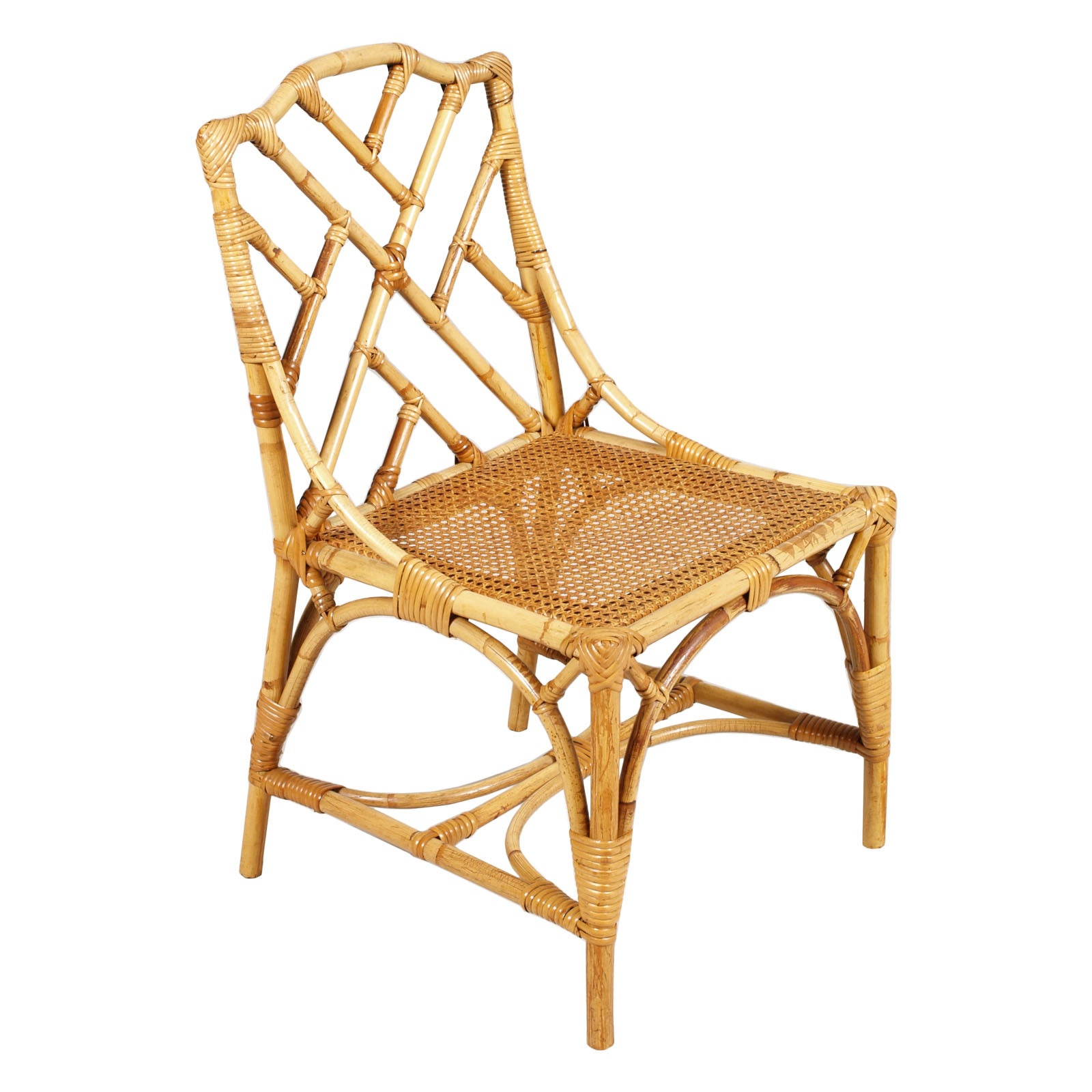 Mid-20th Century Six Rattan Bamboo Chinese Chippendale Style Chairs ...