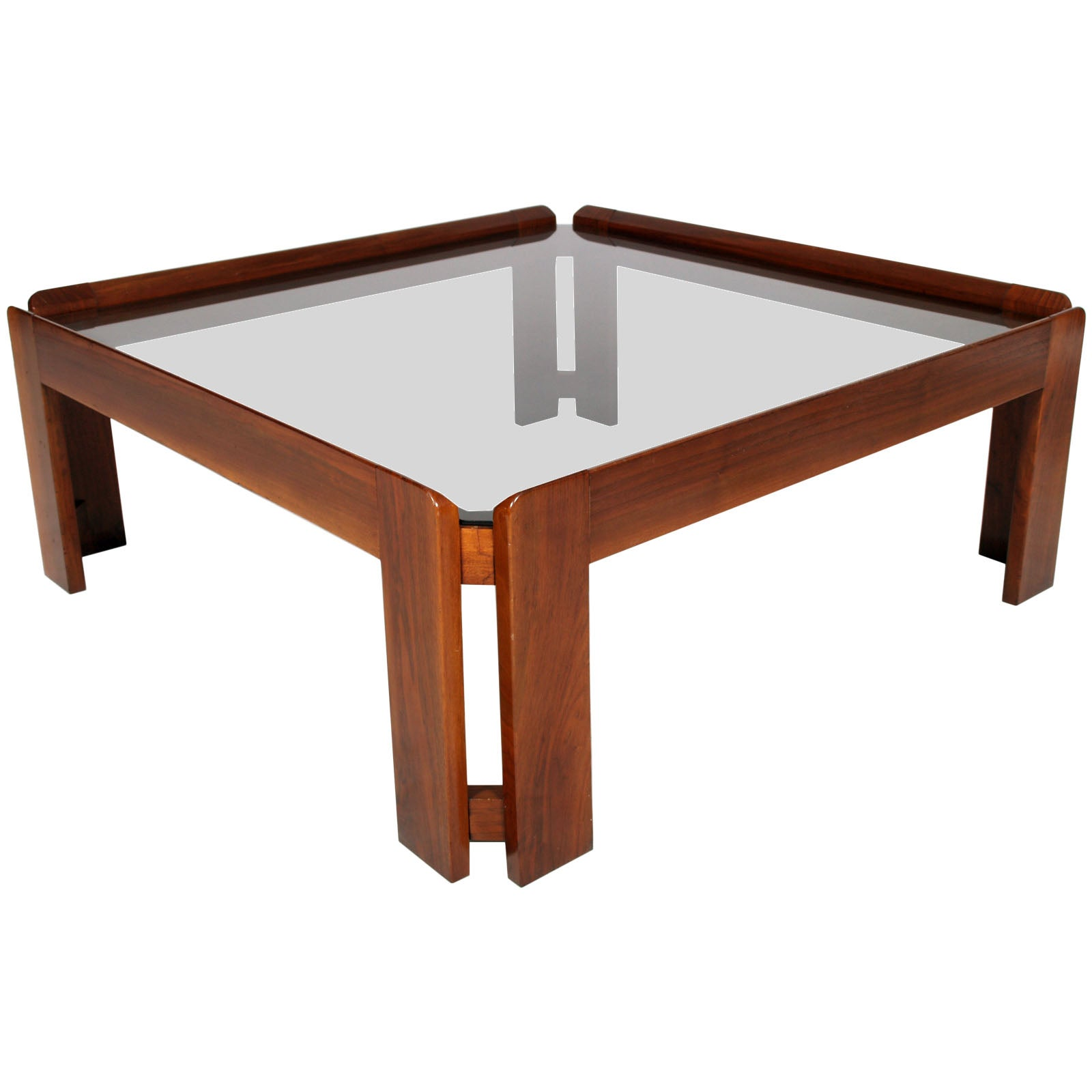 Midcentury Walnut Coffee Table, Top Cristal Fumè, A & Tobia Scarpa Attributed