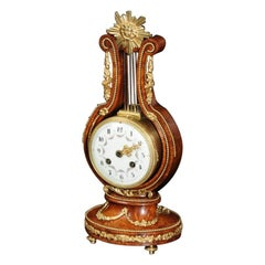Walnut and Ormolu Lyre Boudoir Antique French Clock