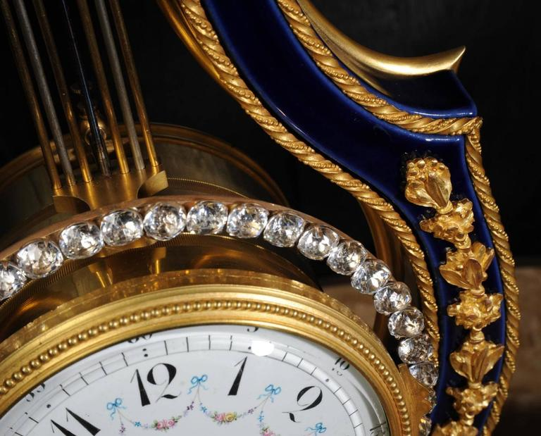 19th Century Fine Antique Cobalt Blue Porcelain and Ormolu Lyre Clock with Mystery Pendulum For Sale