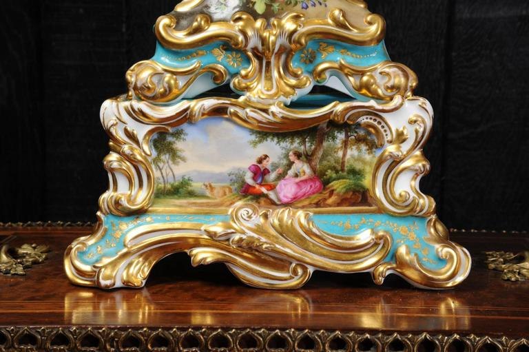 Early french rococo porcelain boudoir clock silk for French rococo period