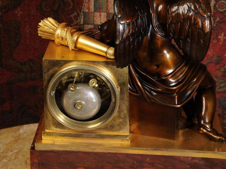 Early and Fine Bronze, Ormolu and Specimen Marble Clock with Cupid In Good Condition For Sale In Belper, Derbyshire