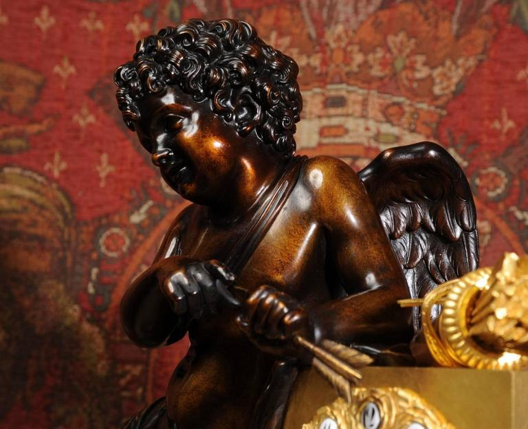 19th Century Early and Fine Bronze, Ormolu and Specimen Marble Clock with Cupid For Sale