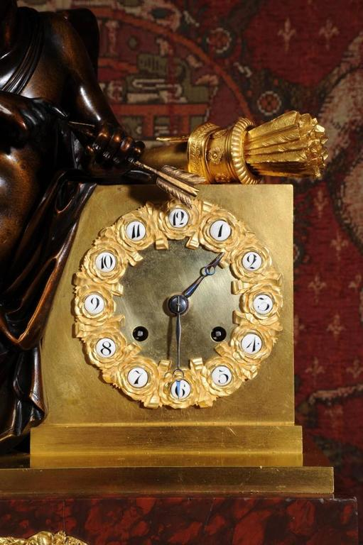 Early and Fine Bronze, Ormolu and Specimen Marble Clock with Cupid For Sale 3