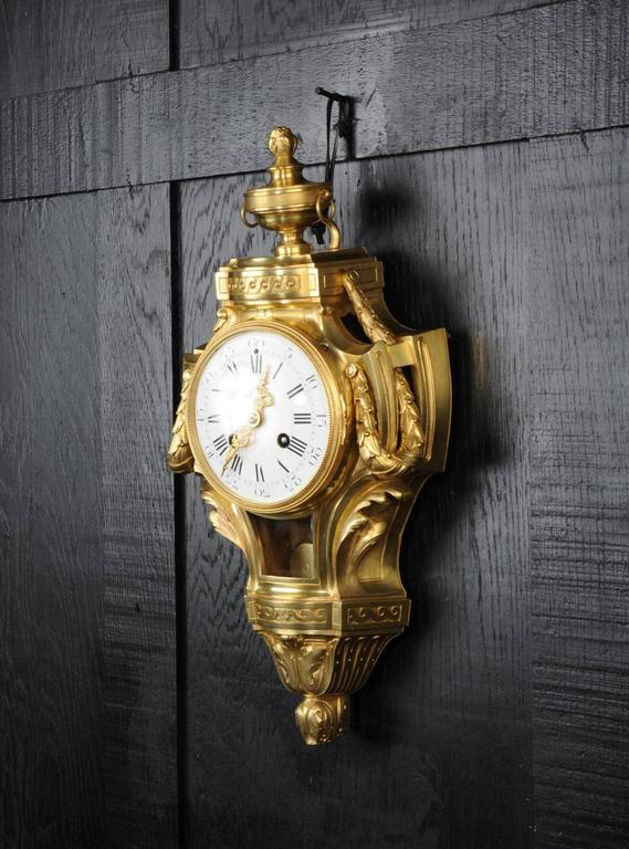 Antique French Gilt Bronze Cartel Wall Clock For Sale At