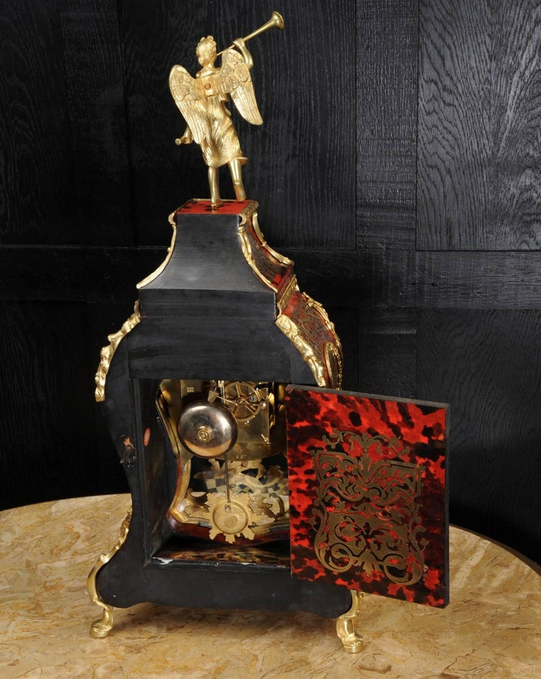 Large Rococo, Ormolu-Mounted Boulle Clock, Goddess Pheme
