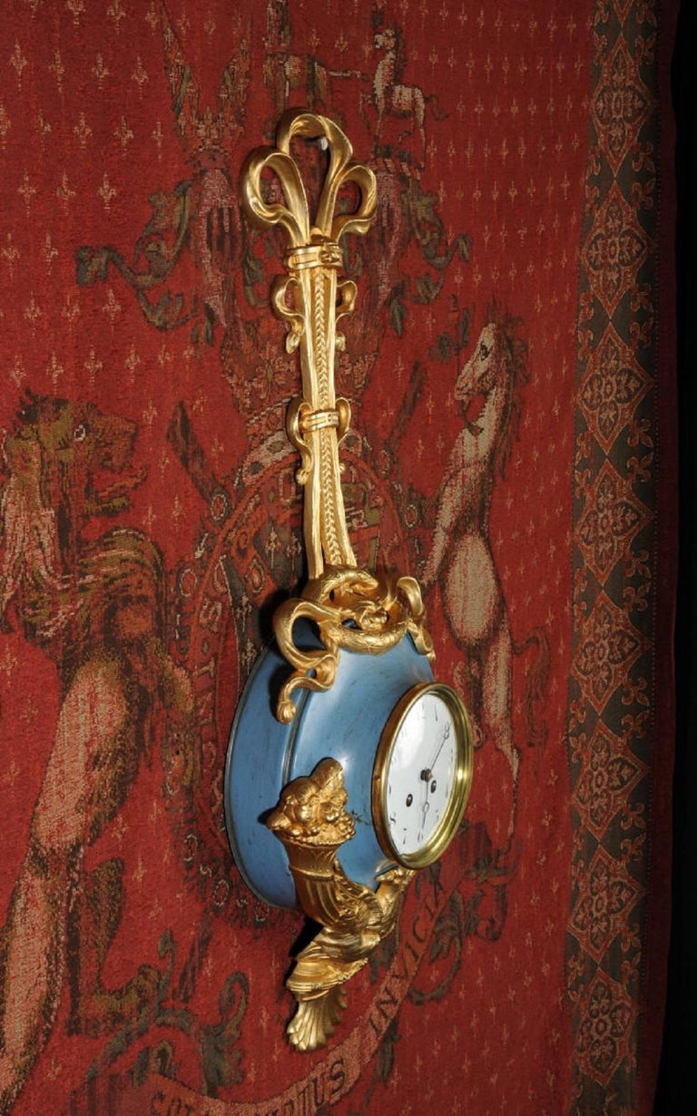 Neoclassical Antique French Cartel Wall Clock Eagle For Sale