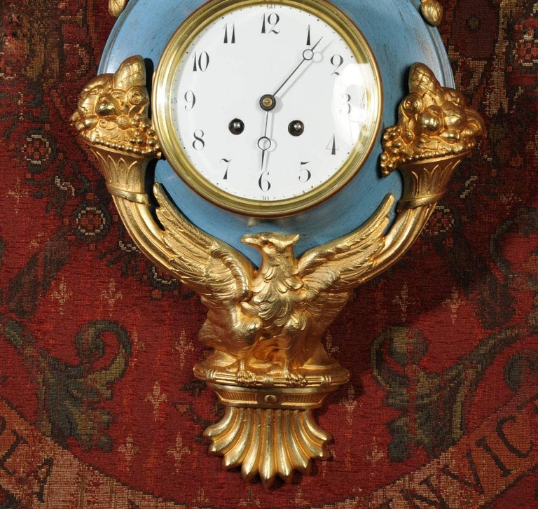 Antique French Cartel Wall Clock Eagle In Good Condition For Sale In Belper, Derbyshire