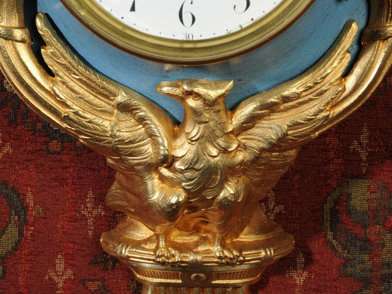 19th Century Antique French Cartel Wall Clock Eagle For Sale