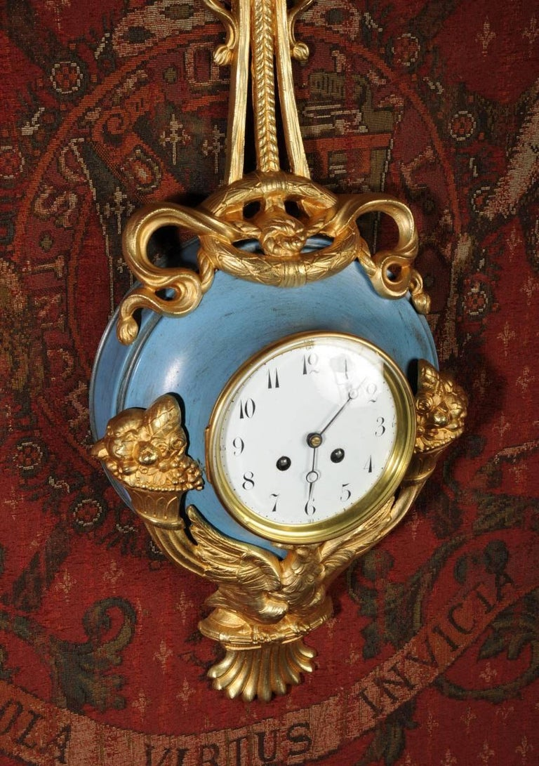 Bronze Antique French Cartel Wall Clock Eagle For Sale