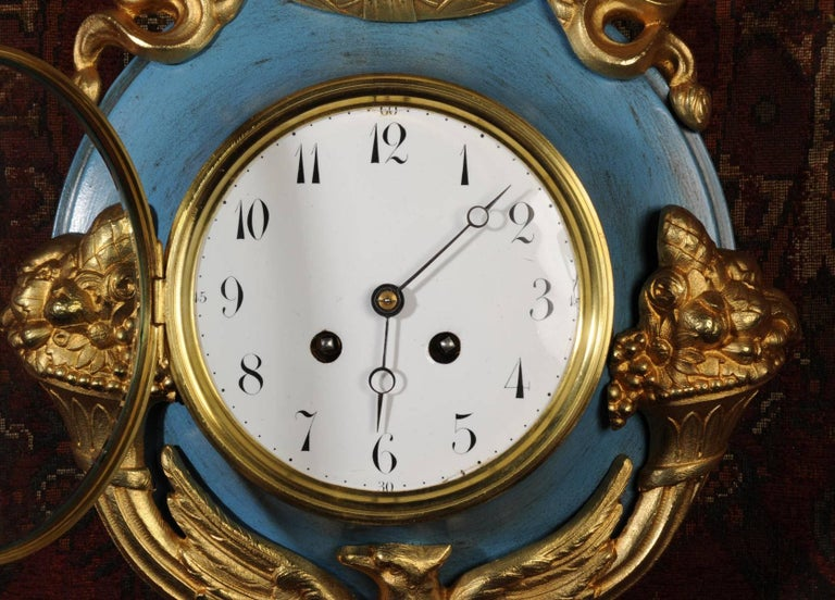 Antique French Cartel Wall Clock Eagle For Sale 1