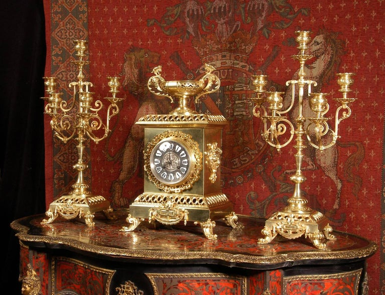 Belgian Compagnie Des Bronzes Large and Stunning Classical Gilt Bronze Clock Set For Sale