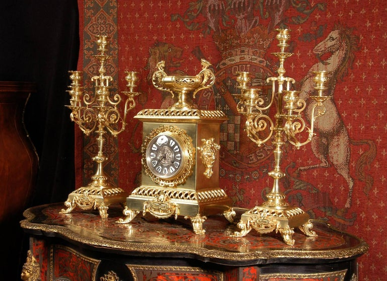 Compagnie Des Bronzes Large and Stunning Classical Gilt Bronze Clock Set In Good Condition For Sale In Belper, Derbyshire