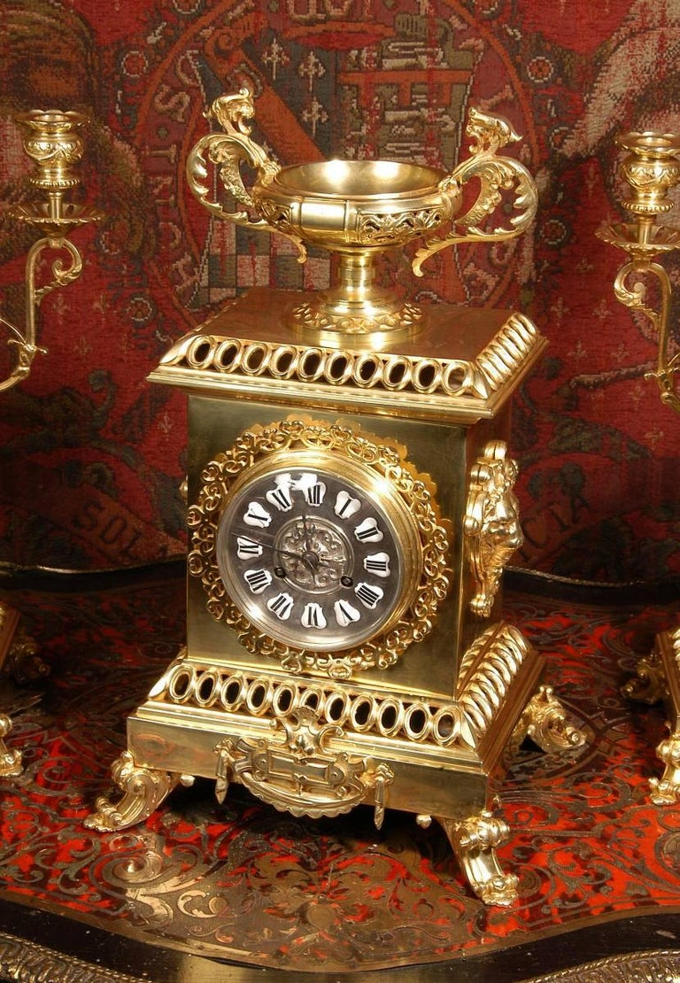 Compagnie Des Bronzes Large and Stunning Classical Gilt Bronze Clock Set For Sale 1