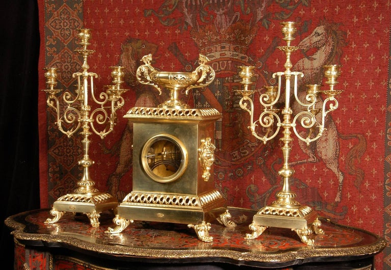 Compagnie Des Bronzes Large and Stunning Classical Gilt Bronze Clock Set For Sale 3