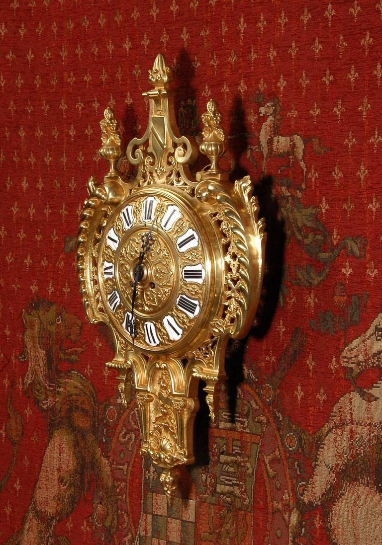 Baroque Antique French Gilt Bronze Cartel Wall Clock For Sale