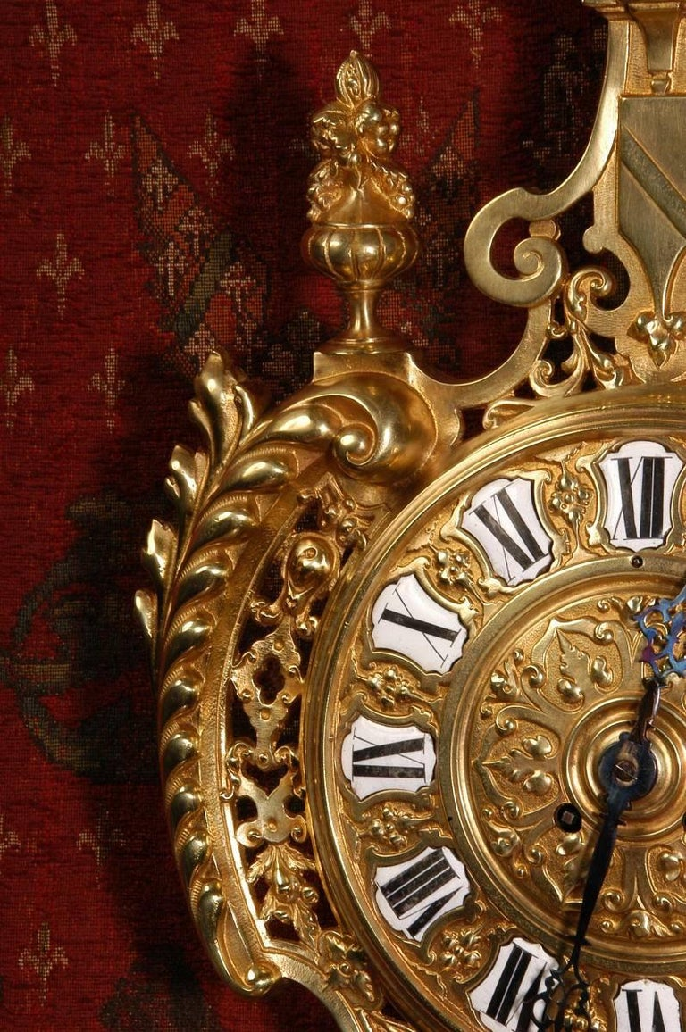 19th Century Antique French Gilt Bronze Cartel Wall Clock For Sale