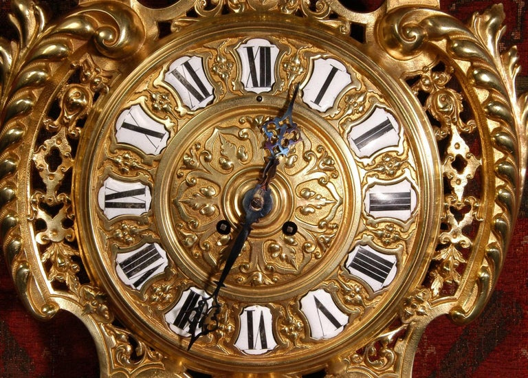 Antique French Gilt Bronze Cartel Wall Clock For Sale 1