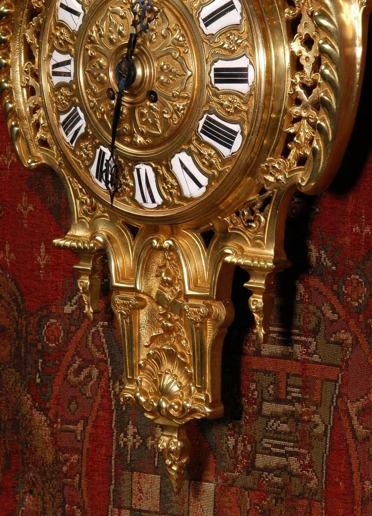 Antique French Gilt Bronze Cartel Wall Clock For Sale 2