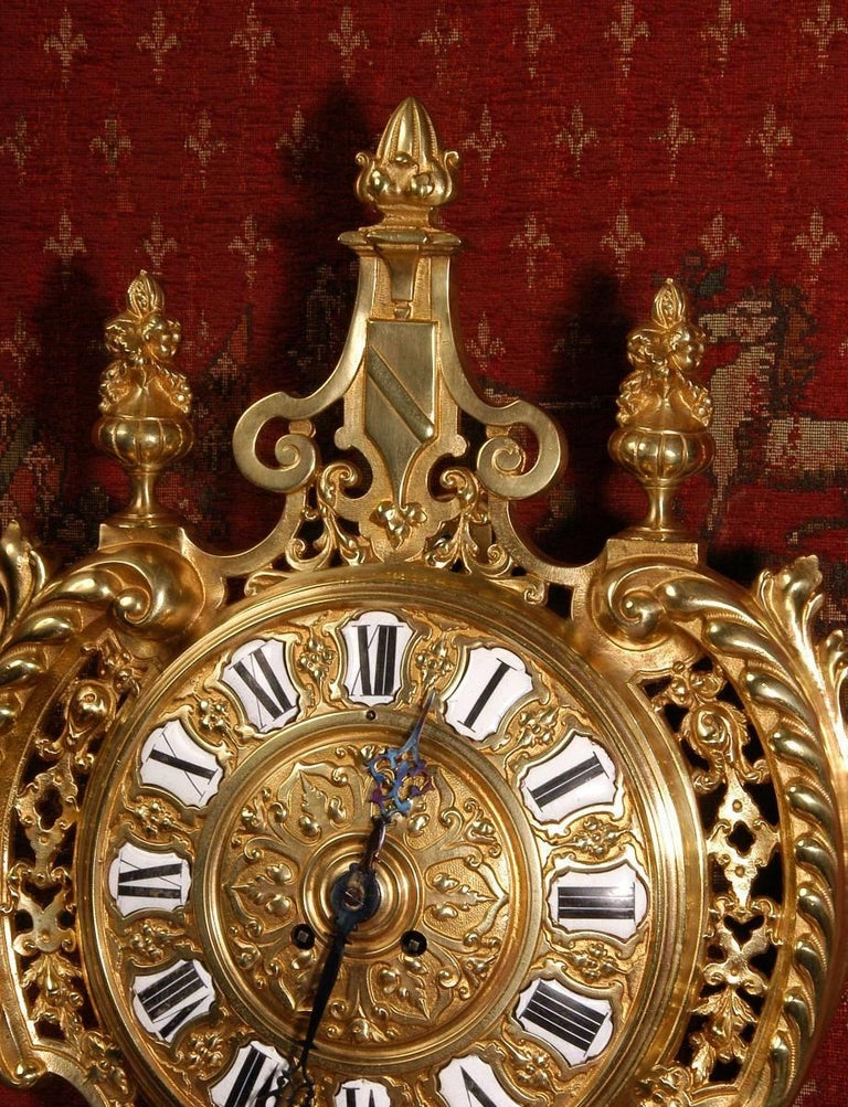 Antique French Gilt Bronze Cartel Wall Clock For Sale 3