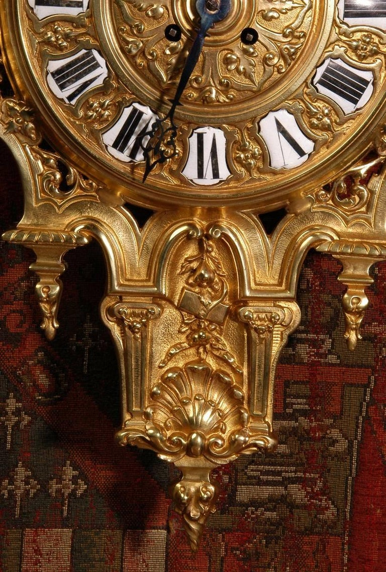 Antique French Gilt Bronze Cartel Wall Clock For Sale 4