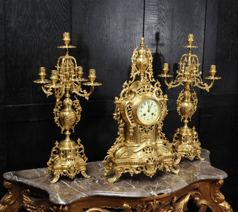 Baroque Large Antique French Gilt Bronze Clock Set by Louis Japy For Sale