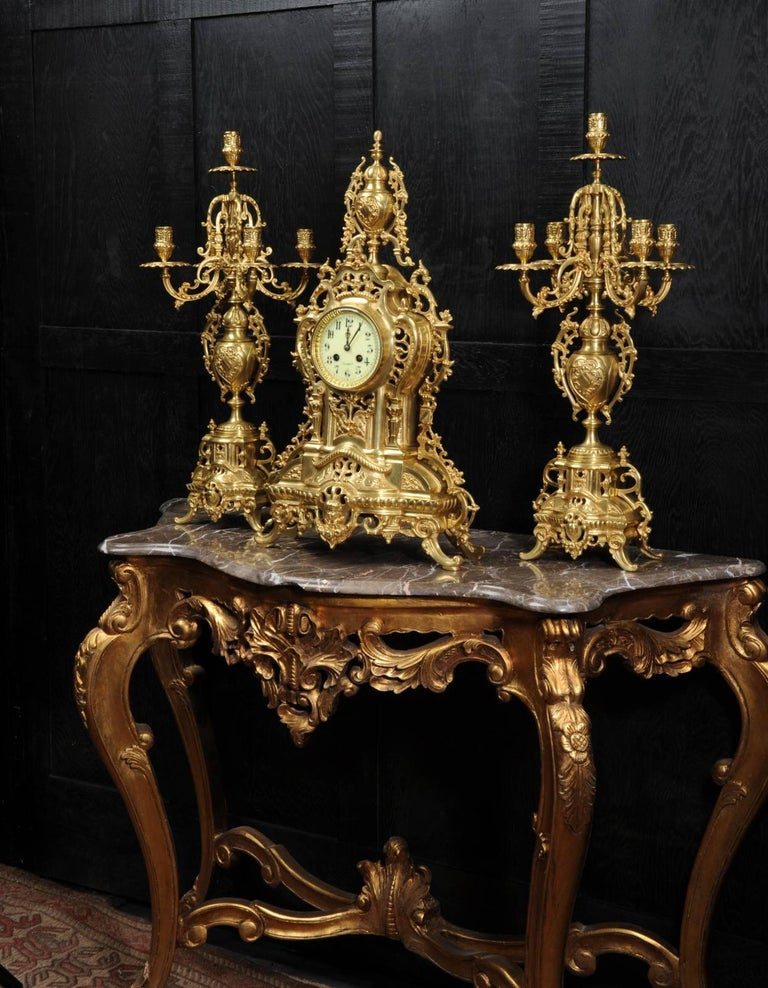 19th Century Large Antique French Gilt Bronze Clock Set by Louis Japy For Sale