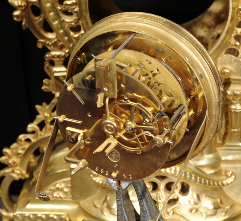 Large Antique French Gilt Bronze Clock Set by Louis Japy For Sale 4