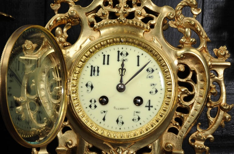 Large Antique French Gilt Bronze Clock Set by Louis Japy For Sale 5