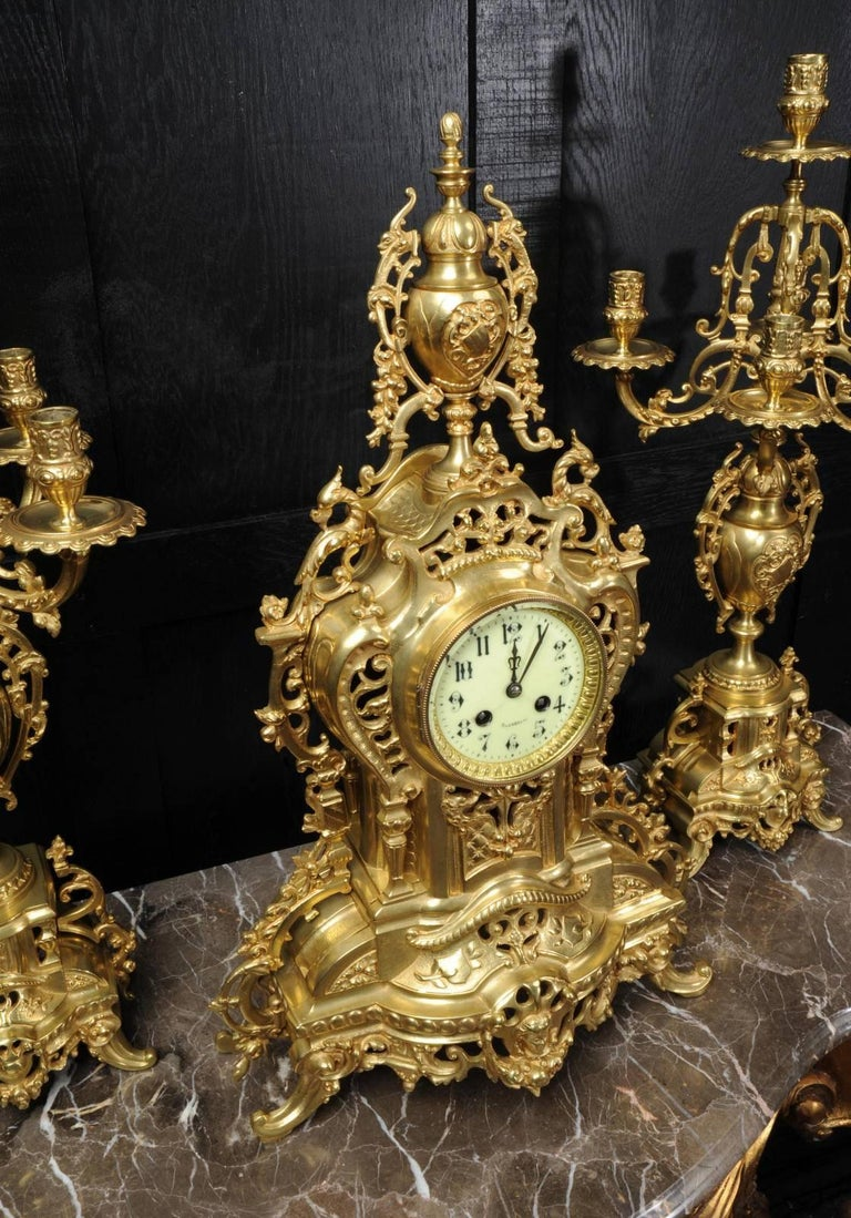 Large Antique French Gilt Bronze Clock Set by Louis Japy For Sale 2