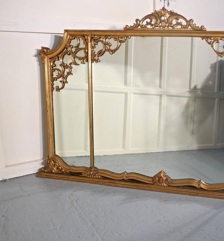 Adam Style Very Large 19th Century Adams Style Gilt over Mantle Wall Mirror For Sale