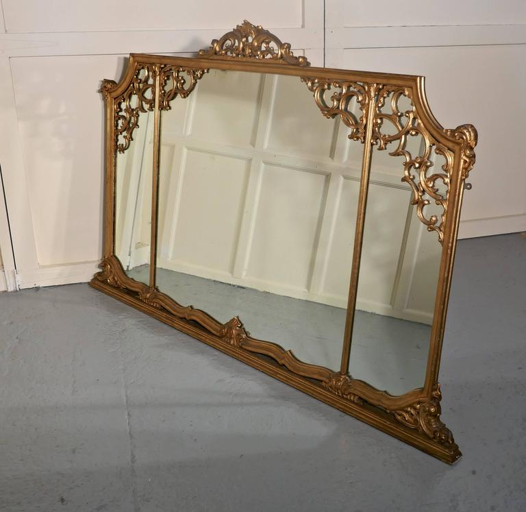 English Very Large 19th Century Adams Style Gilt over Mantle Wall Mirror For Sale