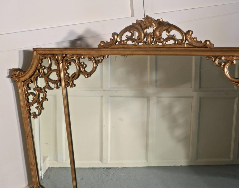 Very Large 19th Century Adams Style Gilt over Mantle Wall Mirror In Good Condition For Sale In ., GB