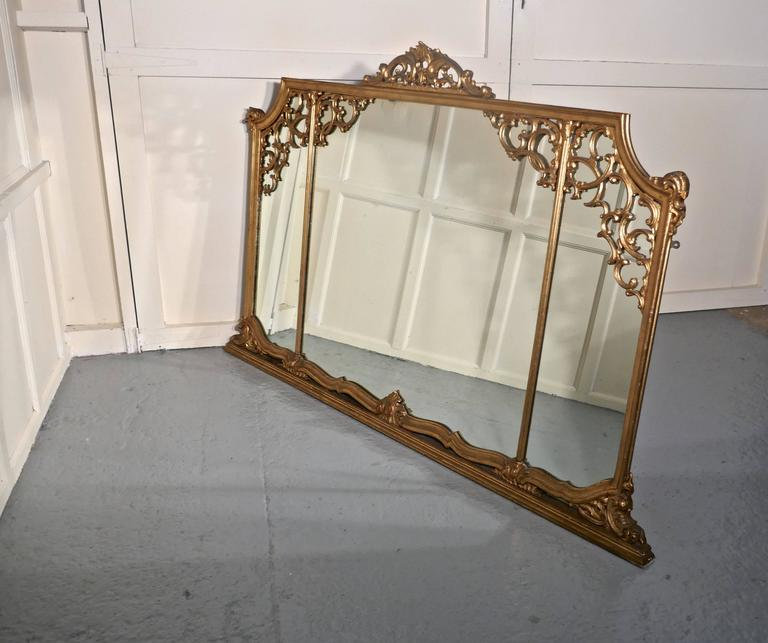 Very Large 19th Century Adams Style Gilt over Mantle Wall Mirror For Sale 1