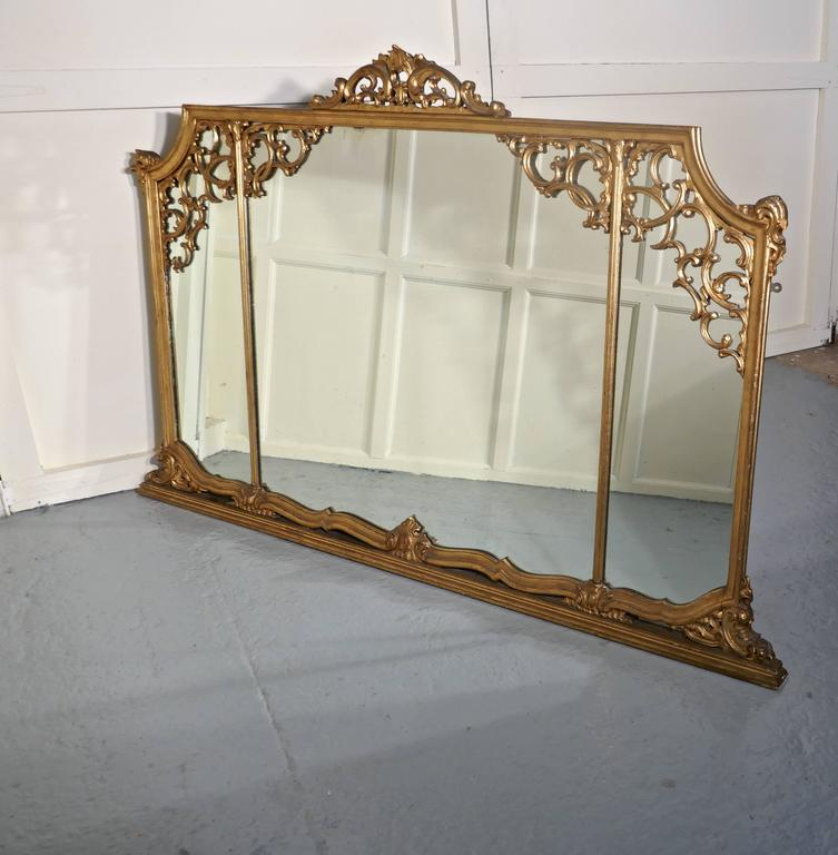Very Large 19th Century Adams Style Gilt over Mantle Wall Mirror For Sale 2