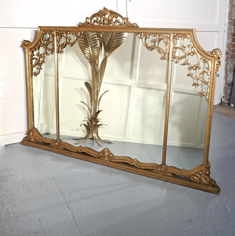 Very Large 19th Century Adams Style Gilt over Mantle Wall Mirror For Sale 3