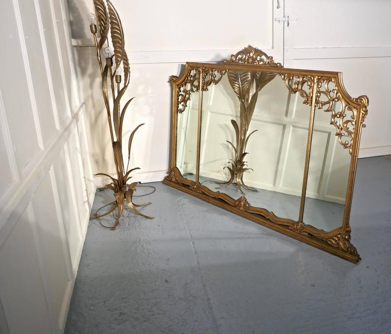 Very Large 19th Century Adams Style Gilt over Mantle Wall Mirror 10
