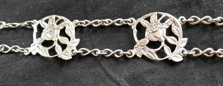 English Lovely Art Nouveau Silver Belt and Buckle For Sale