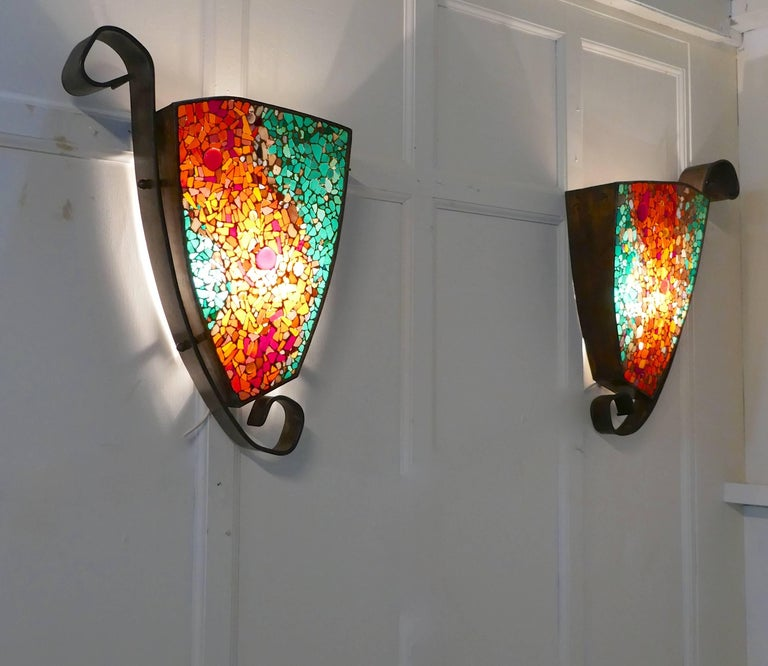 Art Glass Wall Lights: Set Of Four Extra Large Gothic Art Deco Glass And Copper