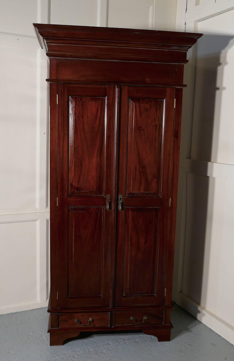 Solid Mahogany Shelved Armoire Hanging Wardrobe For Sale ...