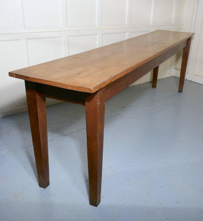 Long Narrow Golden Oak Farmhouse Kitchen Table At 1stdibs