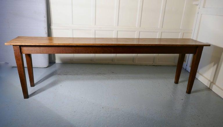 Long Narrow Golden Oak Farmhouse Kitchen Table For Sale At
