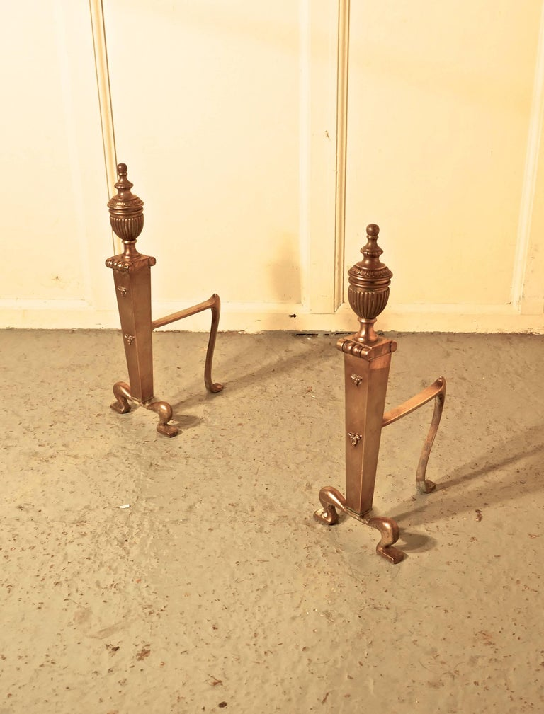 Great Britain (UK) Elegant Pair of 19th Century Brass Andirons or Fire Dogs For Sale