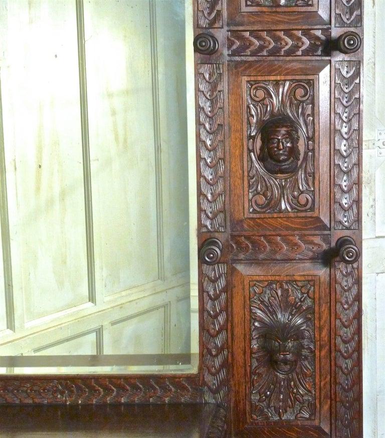 Green Hallway Victorian: Superb Quality Victorian Green Man Gothic Carved Oak Hall