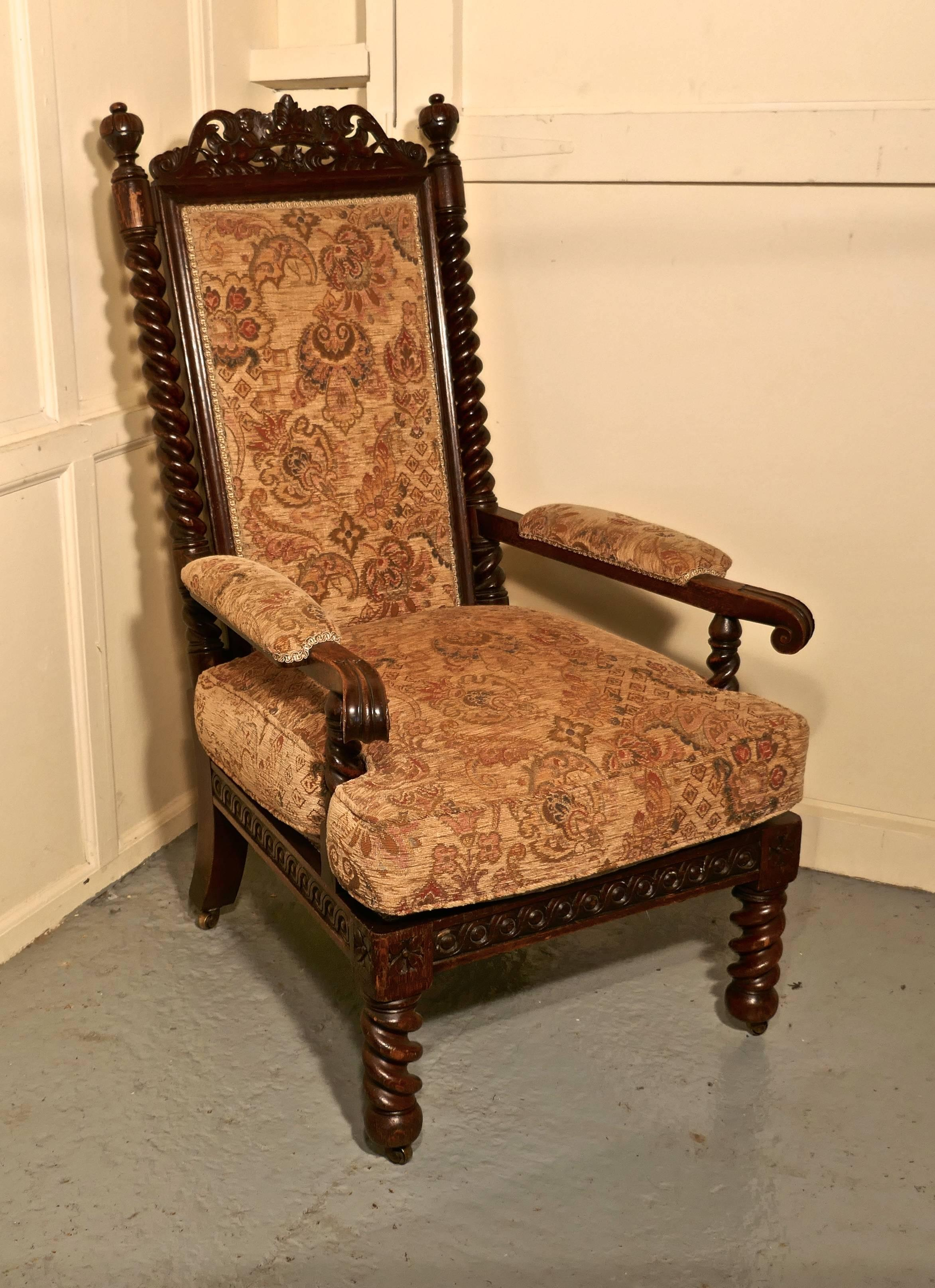 Stunning Victorian Gothic Carved Oak Throne Chair at 1stdibs