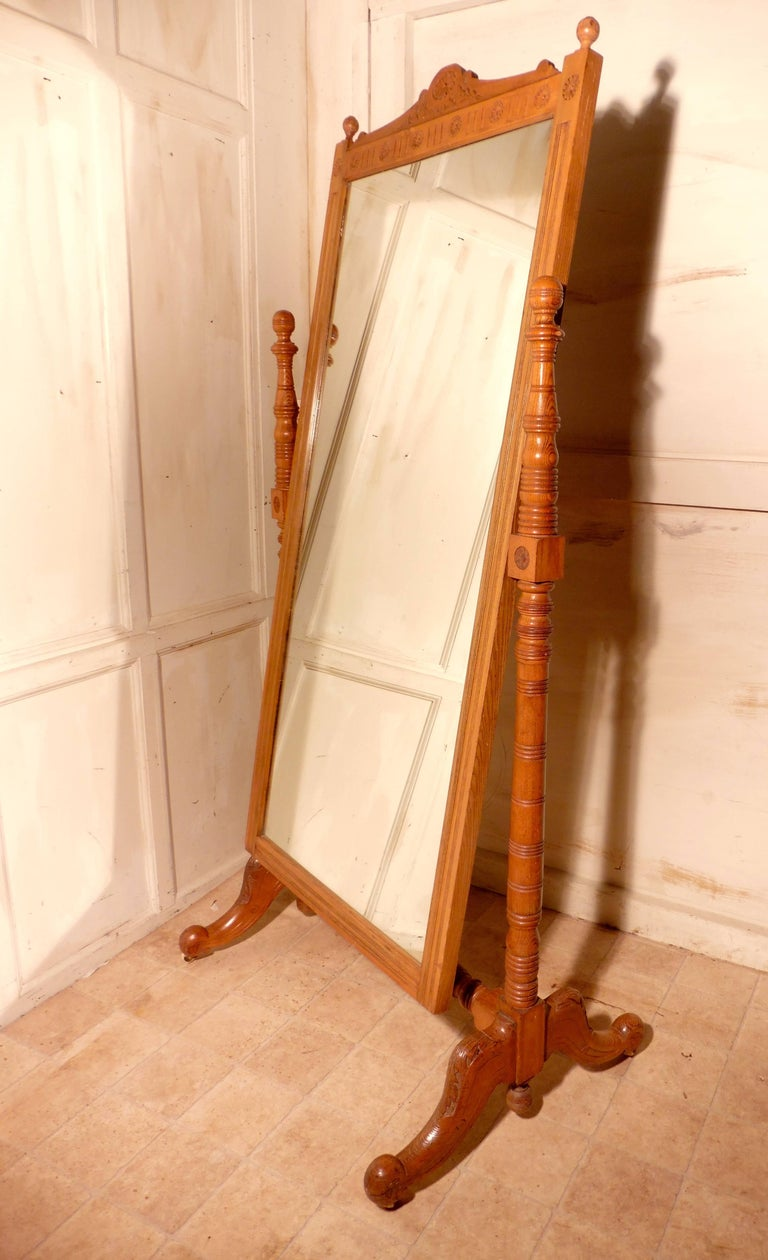 Arts and Crafts Arts & Crafts Carved Ash Cheval Mirror For Sale
