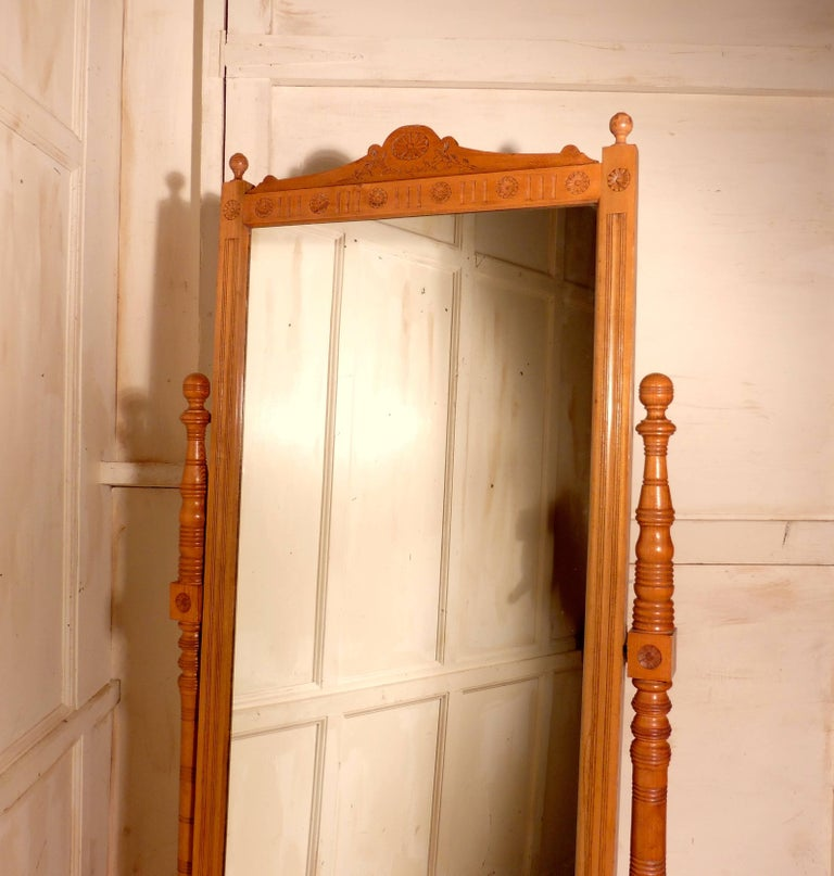 19th Century Arts & Crafts Carved Ash Cheval Mirror For Sale