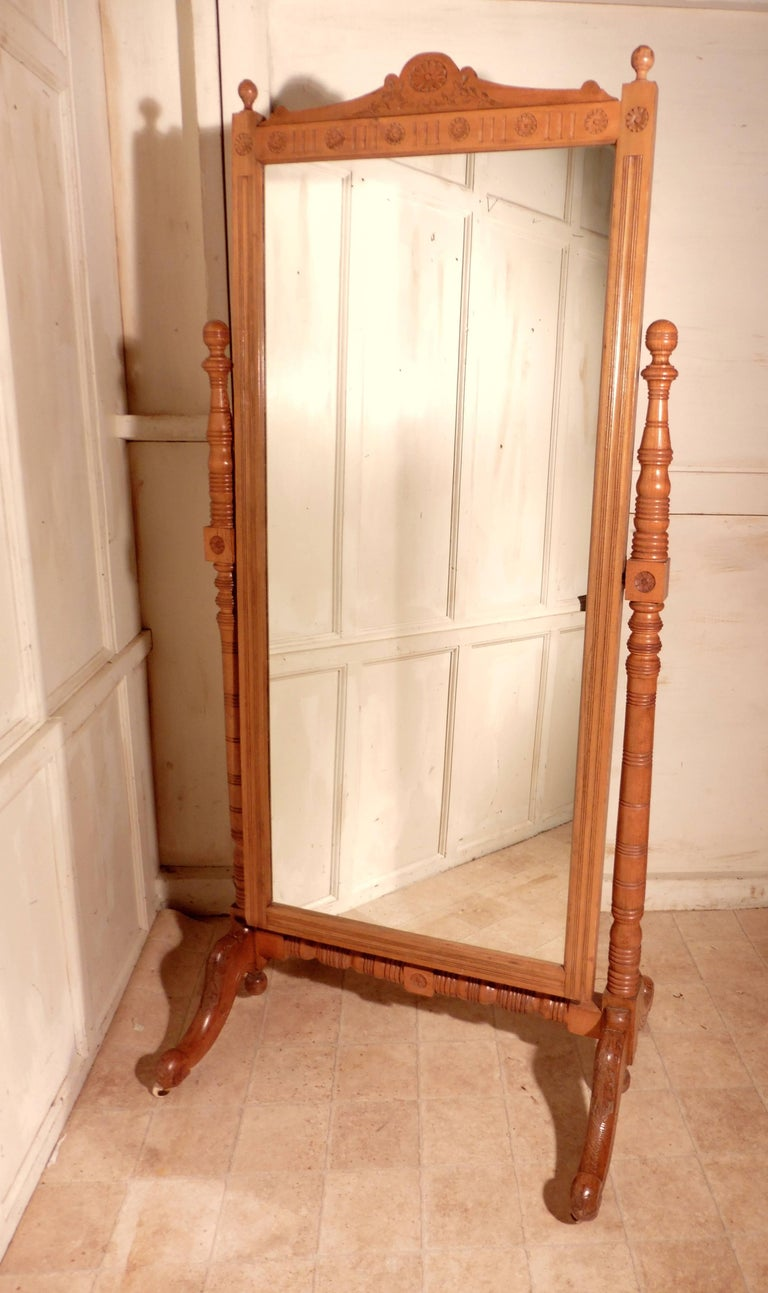 Arts & Crafts Carved Ash Cheval Mirror For Sale 1